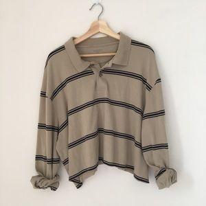 Khaki beige polo collard top